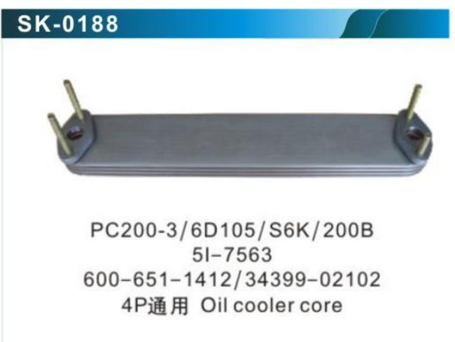 sk0188-PC200-3-6D105-S6K-200B-5I-7563-600-651-1412-34399-02101-4P-Oil-cooler-core